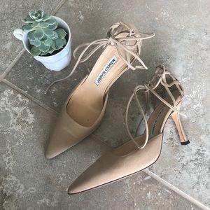Manolo Blahnik nude lace up heels